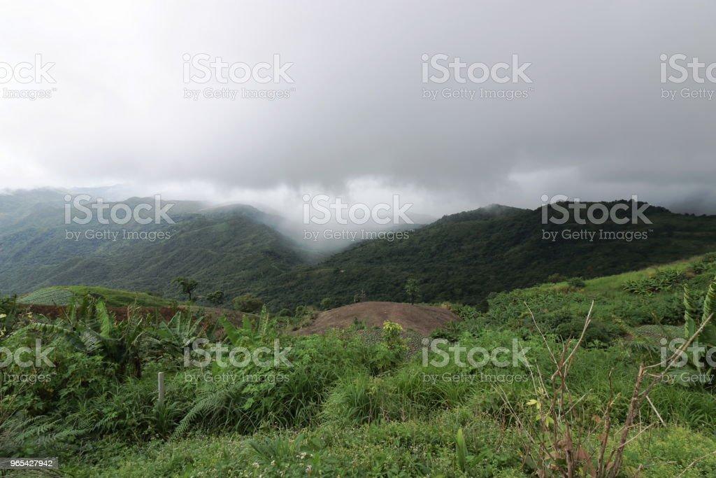 Moody mountain with dramatic sky in rainy day. zbiór zdjęć royalty-free