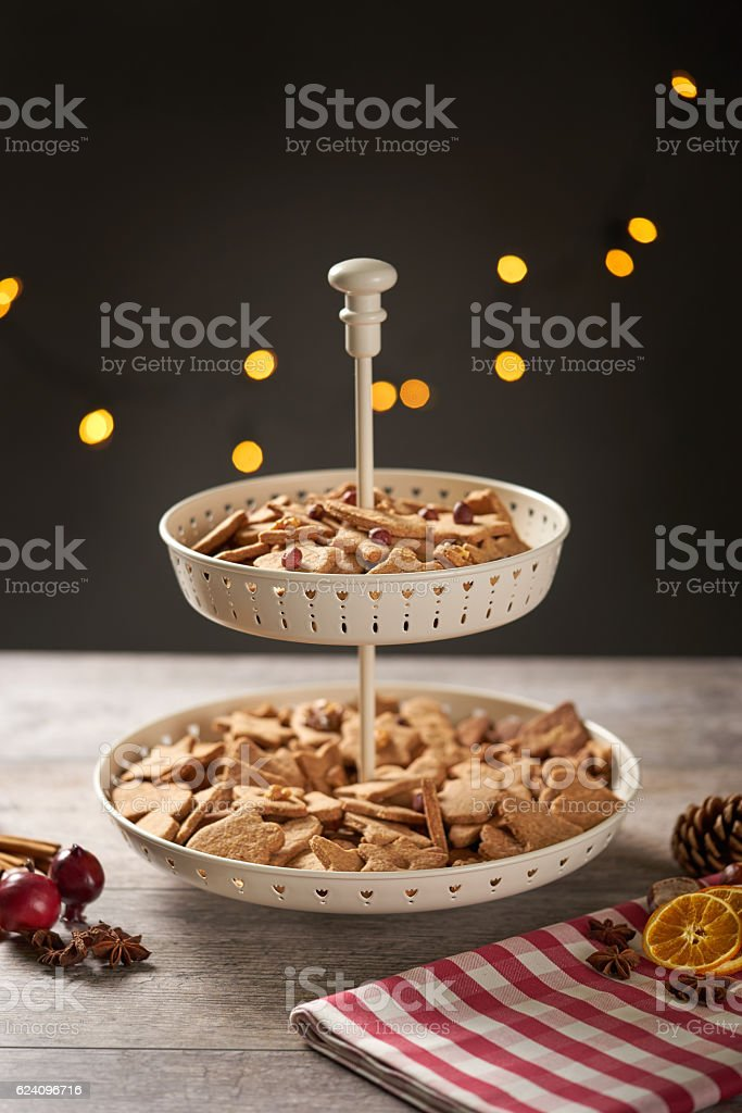 Moody Screne with Christmas Cookies and Decoration stock photo