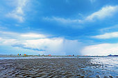 the beginning of storm on the beach