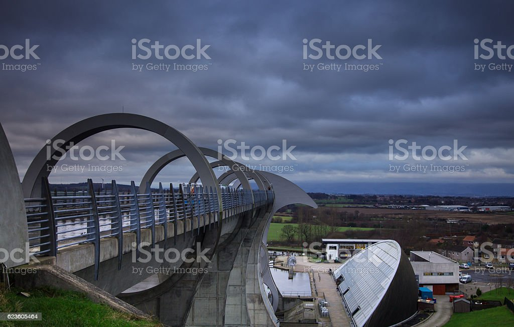 Moody Sky Over Falkirk from the Wheel stock photo