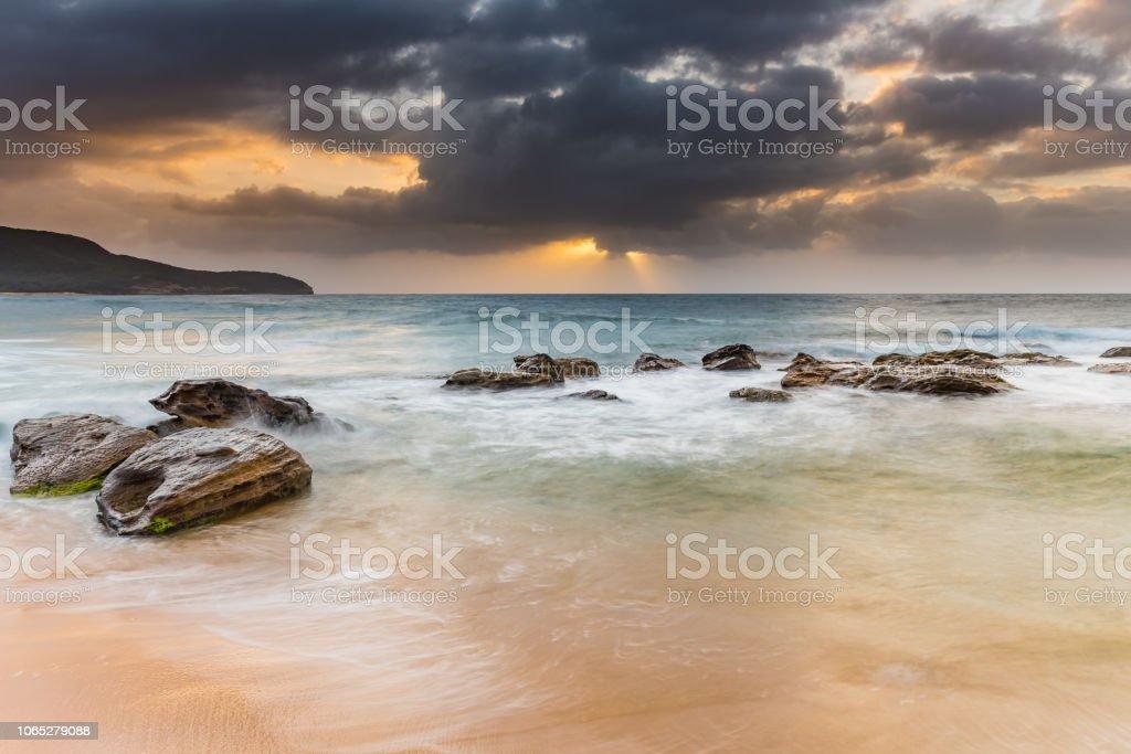 Moody Sunrise Seascape stock photo
