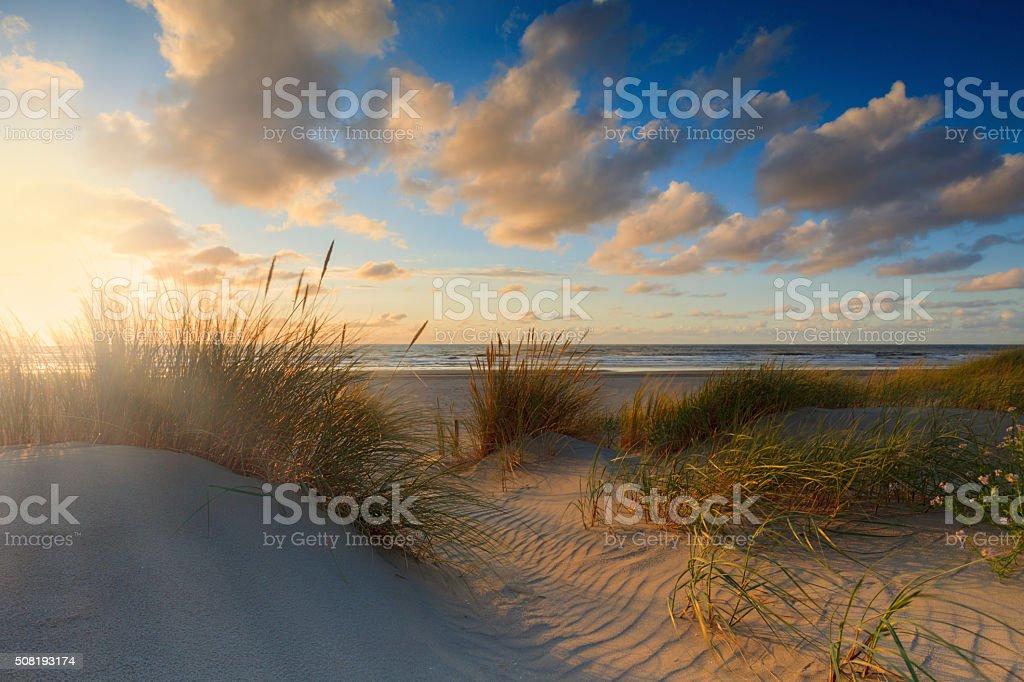 moody sunset along the Dutch coast stock photo