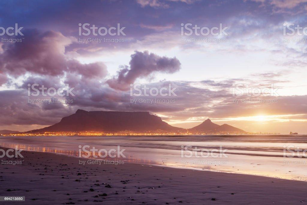 Moody Sunset Cape Town Sea Point Twilight Scene stock photo