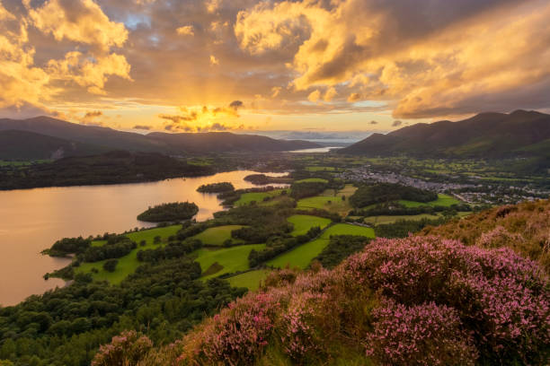 Moody Sunset Over Derwentwater In Lake District. stock photo