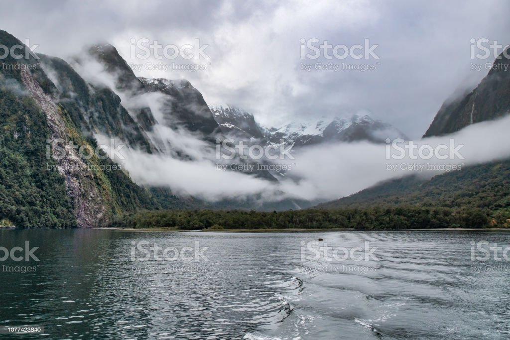 Moody Weather In Milford Sound Stock Photo Download Image