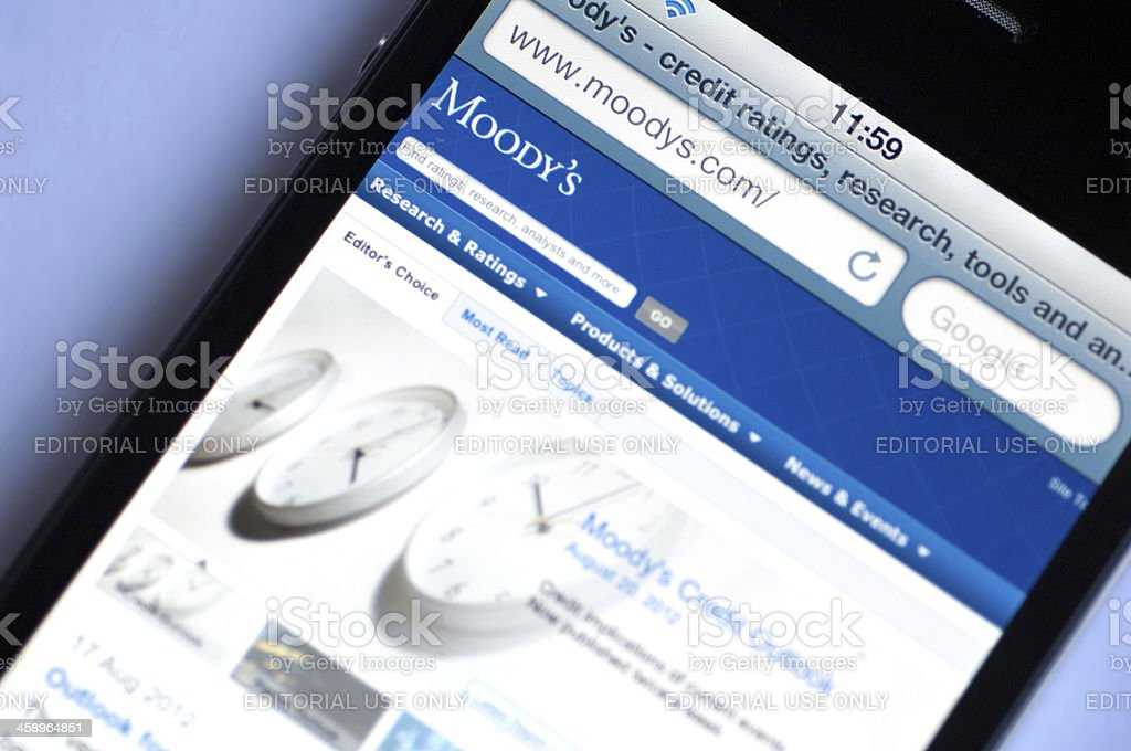 Moody's home page on Iphone 4 stock photo