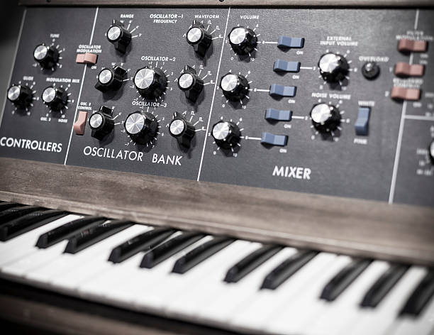 Moog synthesizer Moog synthesizer up close with knobs and keyboard synthesizer stock pictures, royalty-free photos & images