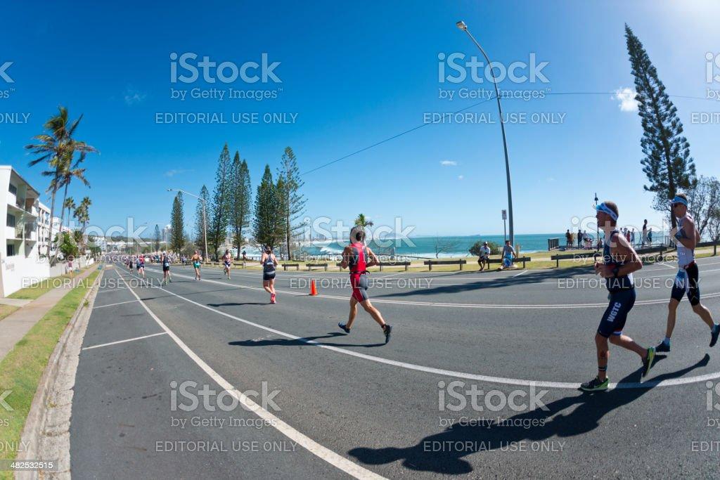 Mooloolaba Triathlon along Alexandra Headland stock photo