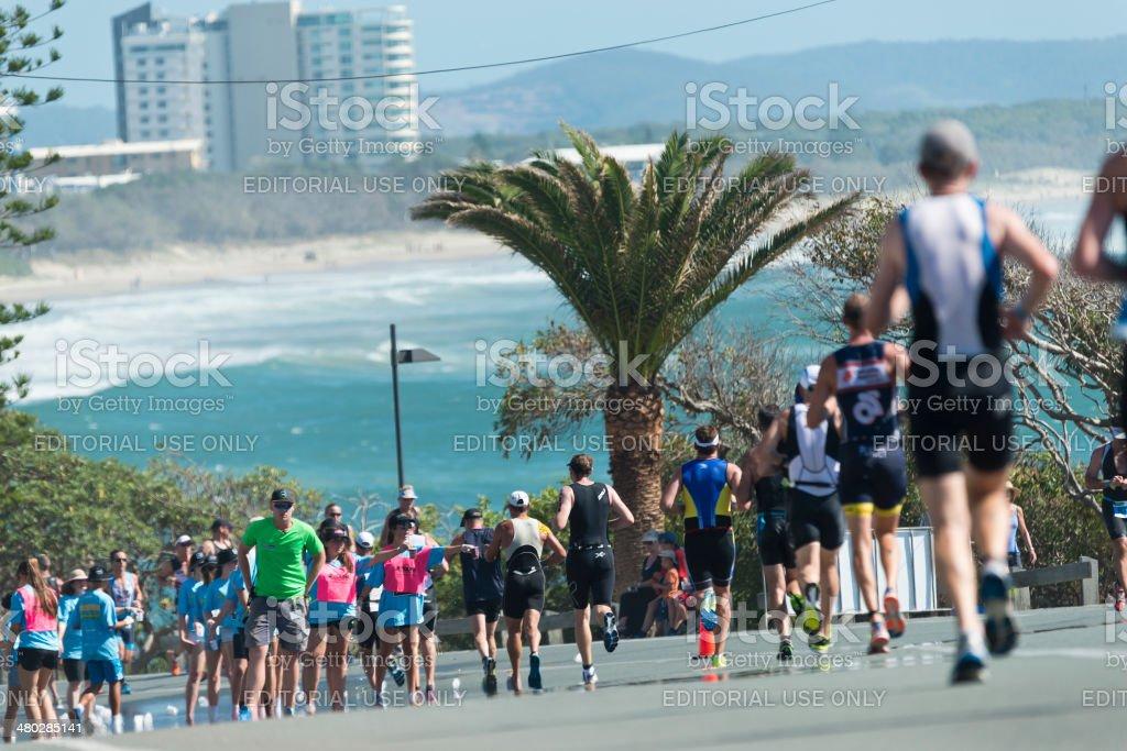 Mooloolaba Triathlon Runners Alexandra Parade stock photo