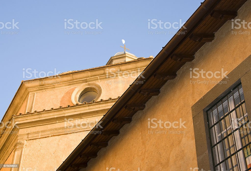 moon above the church royalty-free stock photo