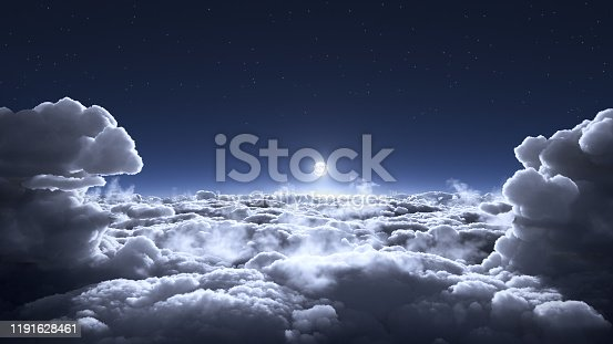 Moon above the clouds scenery 3d illustration