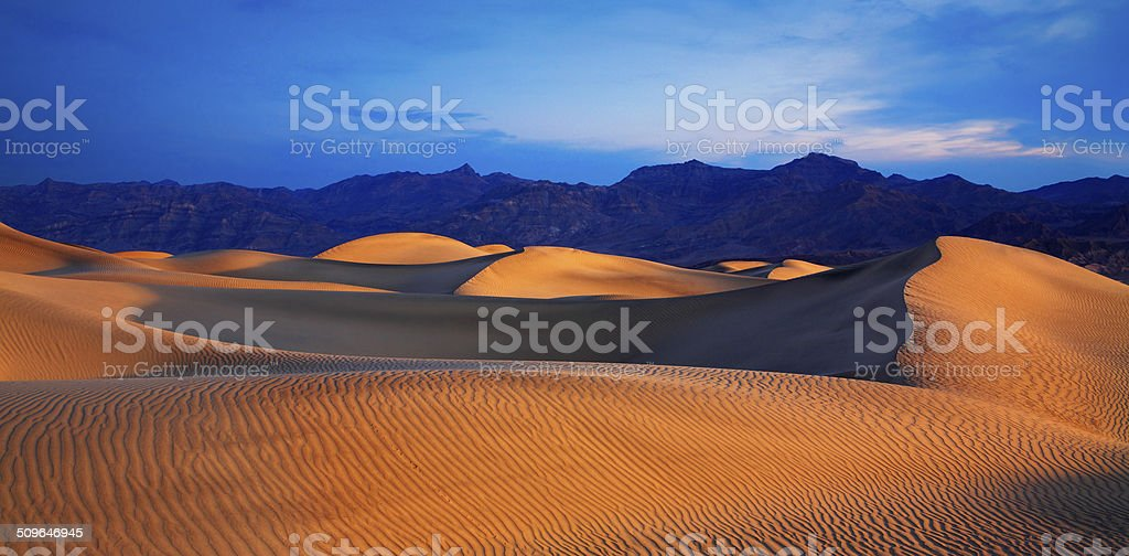 Moon And Dunes stock photo