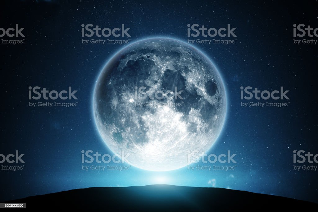 Moon and night sky stock photo