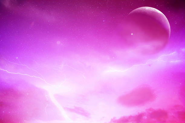 Moon and purple sky stock photo