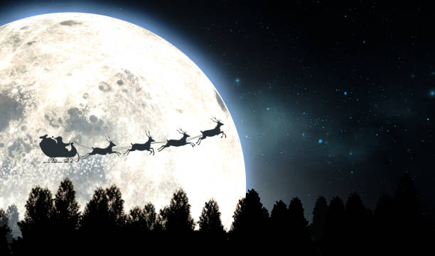 Moon And Santas Sleigh Silhouette Santas sleigh silhouetted against the backdrop of a full moon and night sky flying above a forest of pine trees - 3D render sled stock pictures, royalty-free photos & images