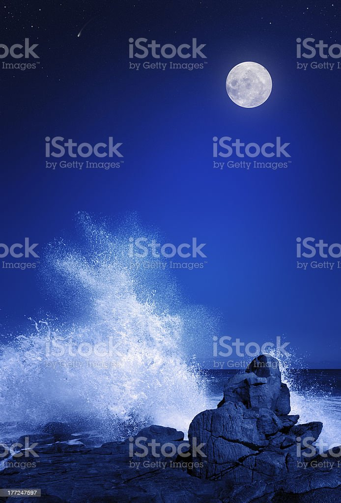 Moon and Seascape at night stock photo