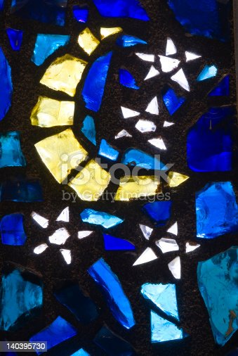 Moon and Stars blue and gold church stain glass.