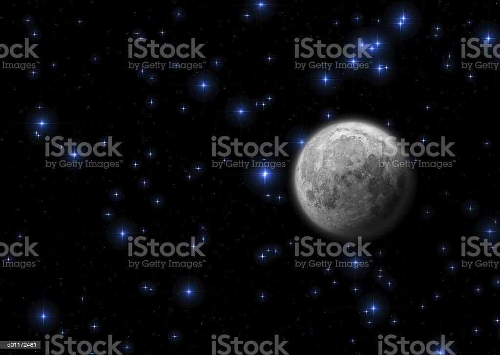 Moon and Stars royalty-free stock photo