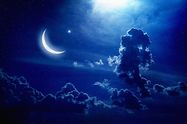 Moon and stars stock photo