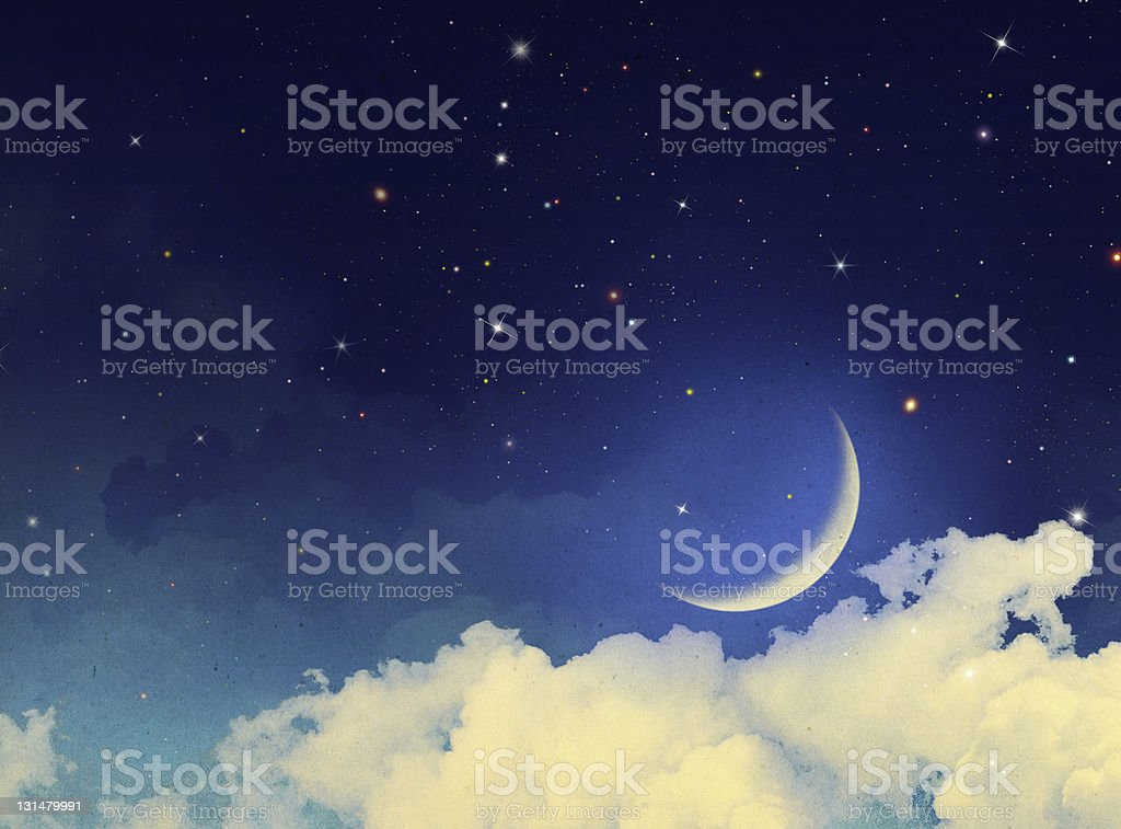 Moon and stars with some clouds at night - Royalty-free Abstract Stock Photo