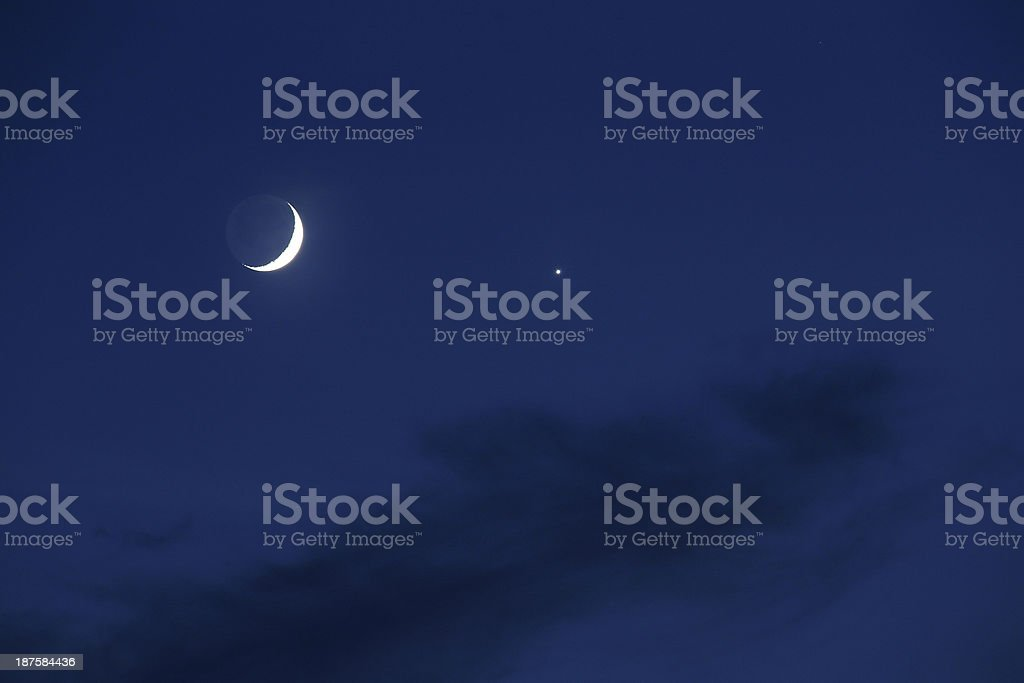 Moon and Venus stock photo