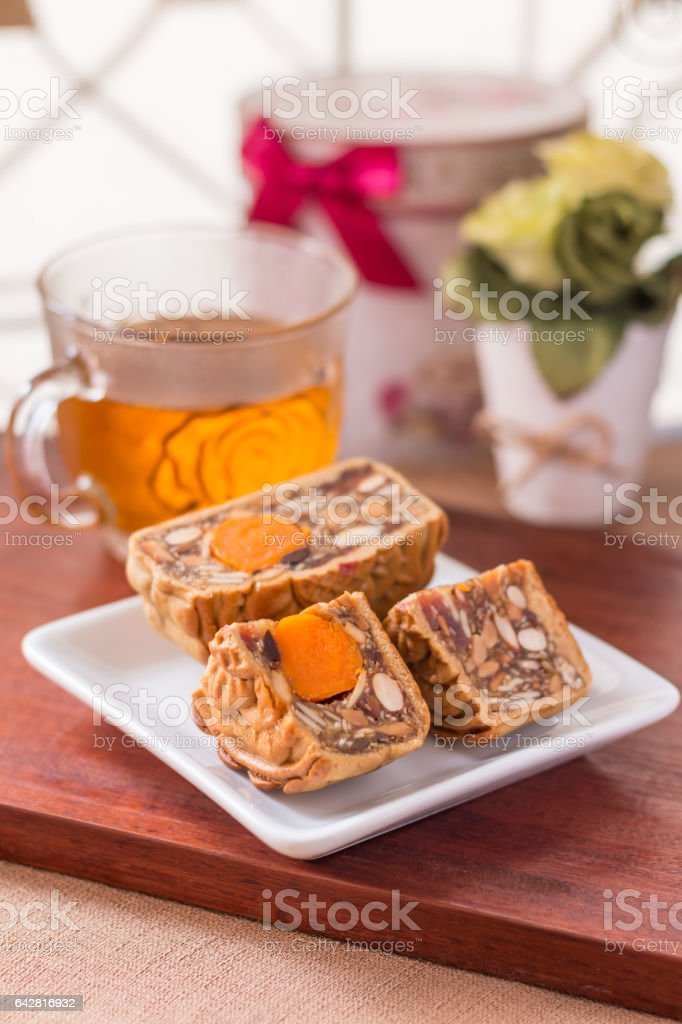 Moon cake and tea stock photo