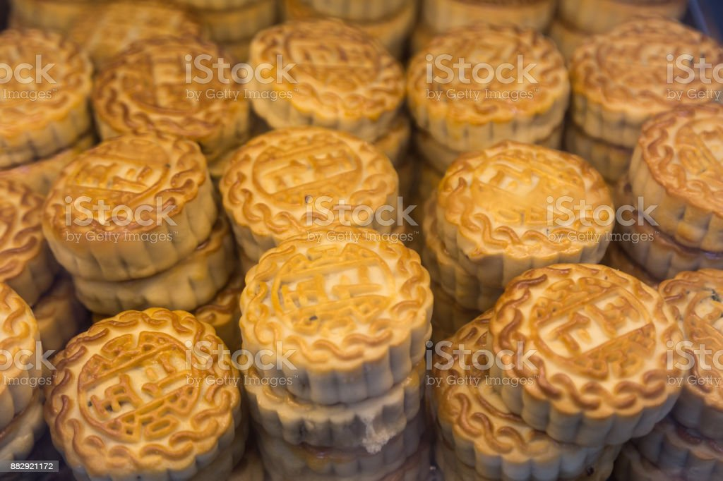 moon cake sold in the market stock photo