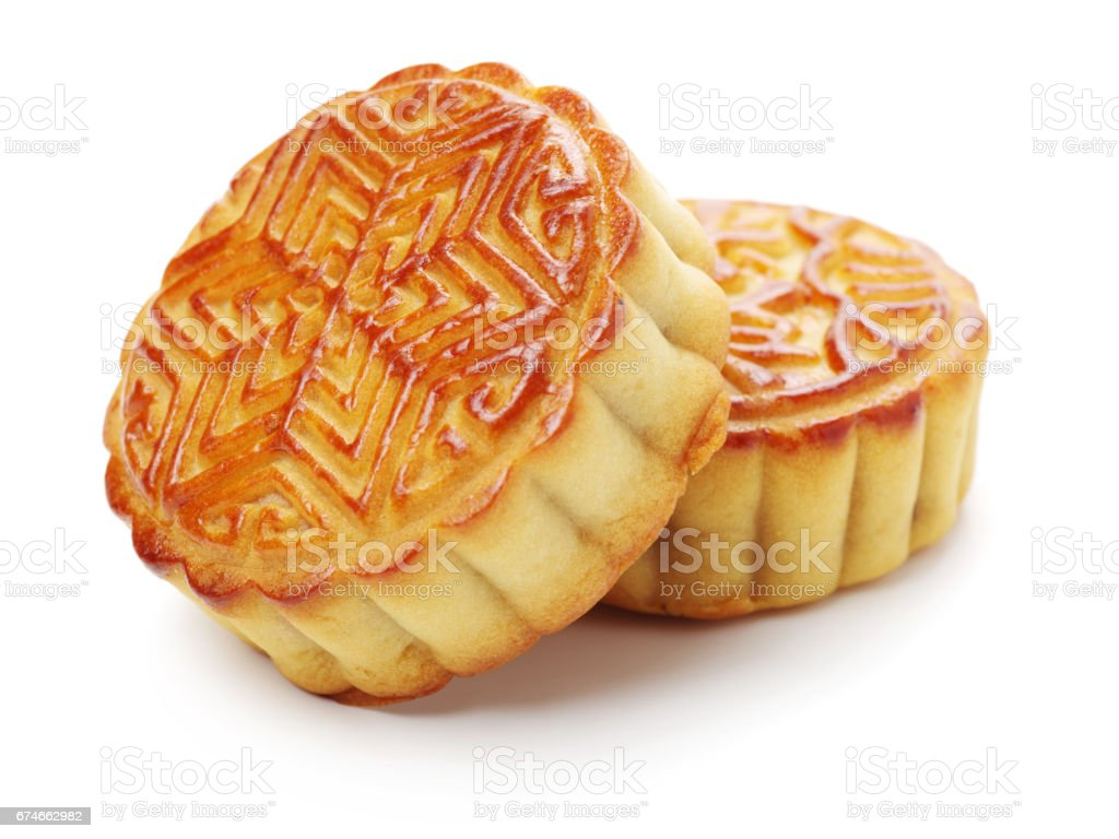 Moon Cake Variety   on white background stock photo