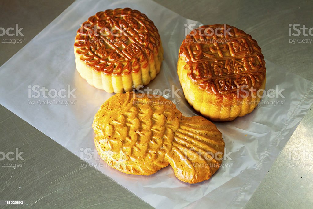 Moon cakes of Singapore stock photo