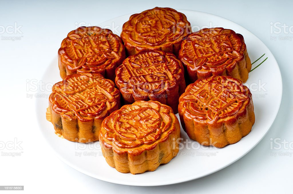 Moon Cakes on a Plate Seven Chinese moon cakes on a plate Cake Stock Photo