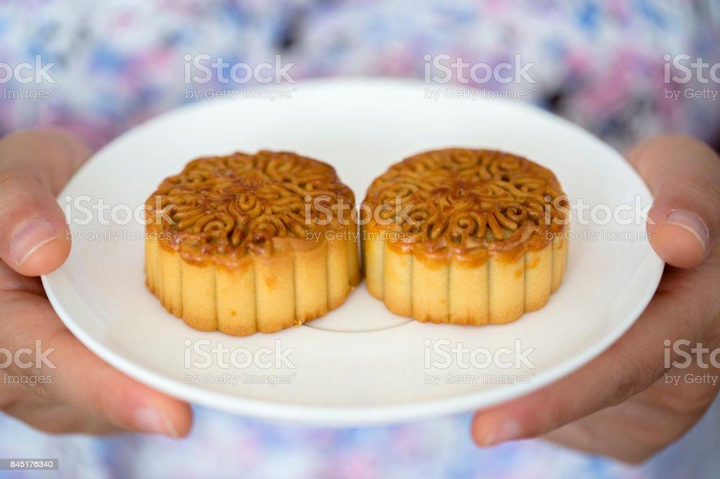 moon cakes stock photo