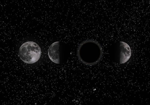 ciclo lunare - luna gibbosa foto e immagini stock