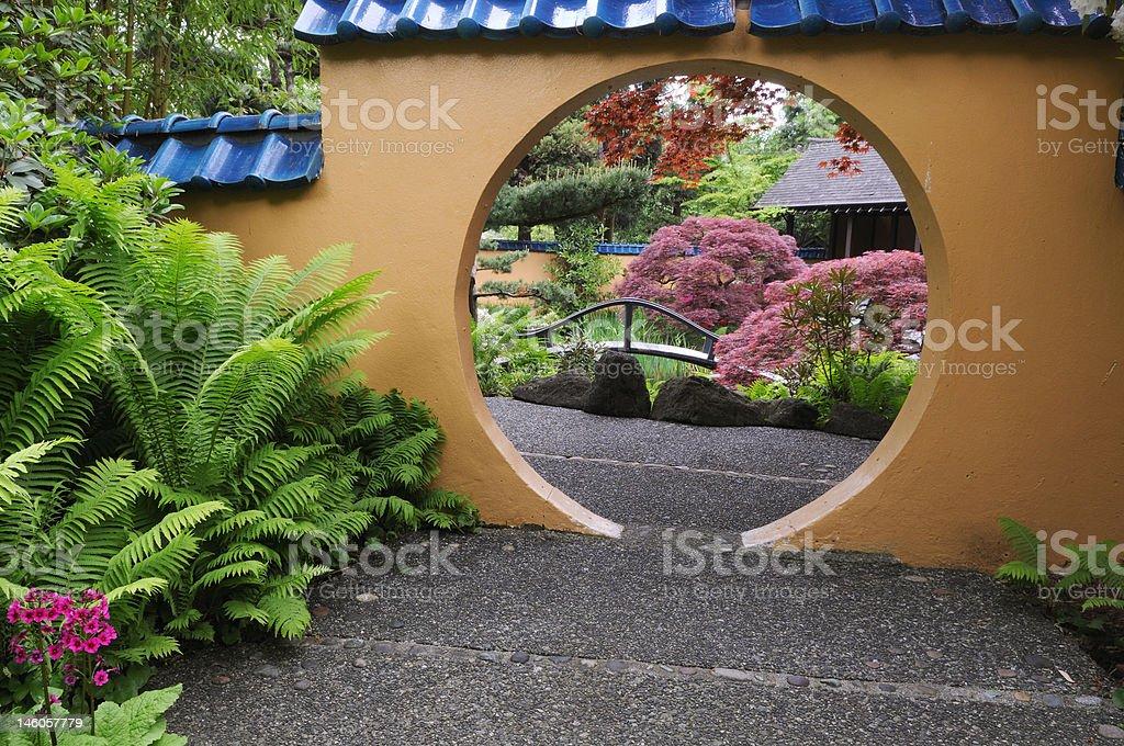 Moon garden gate royalty-free stock photo