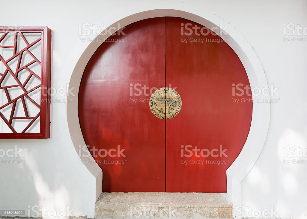 moon gate on white wall stock photo