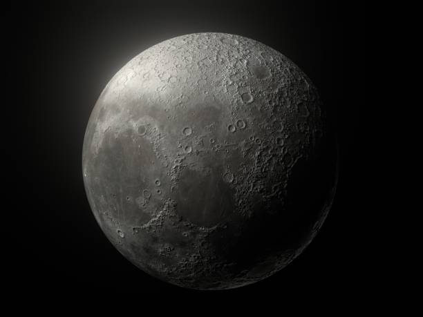 Moon Glow Black Background stock photo