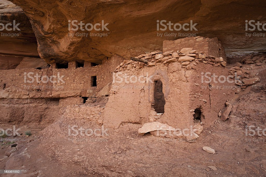 Moon House Ruins Alcove and Structures stock photo