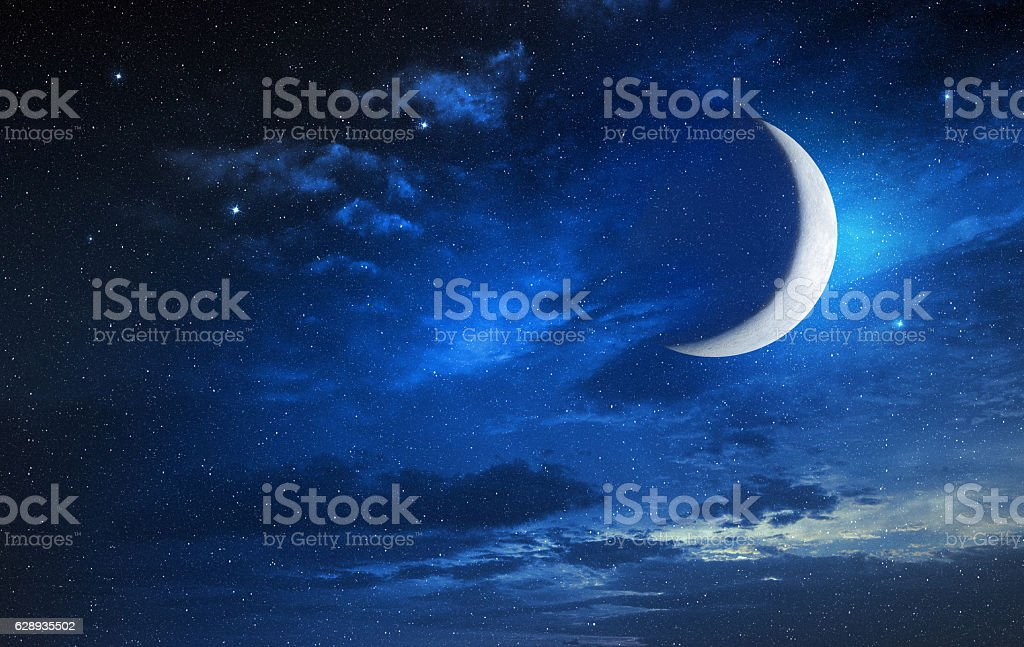 moon in blue cloudy sky – Foto