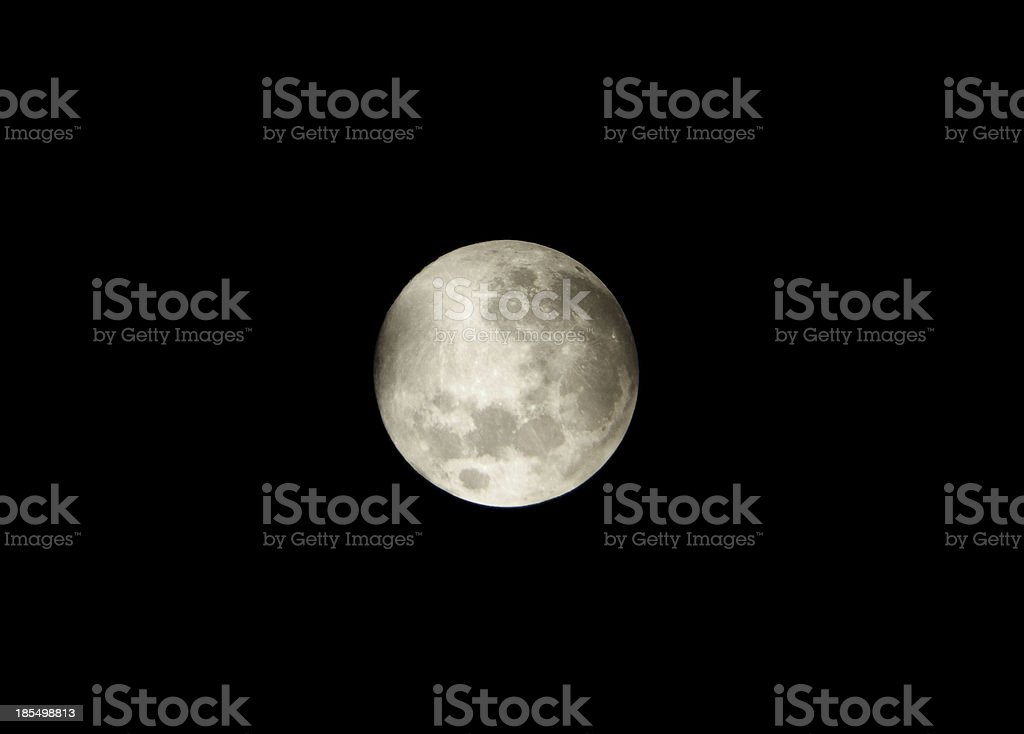 Moon in dark night sky stock photo