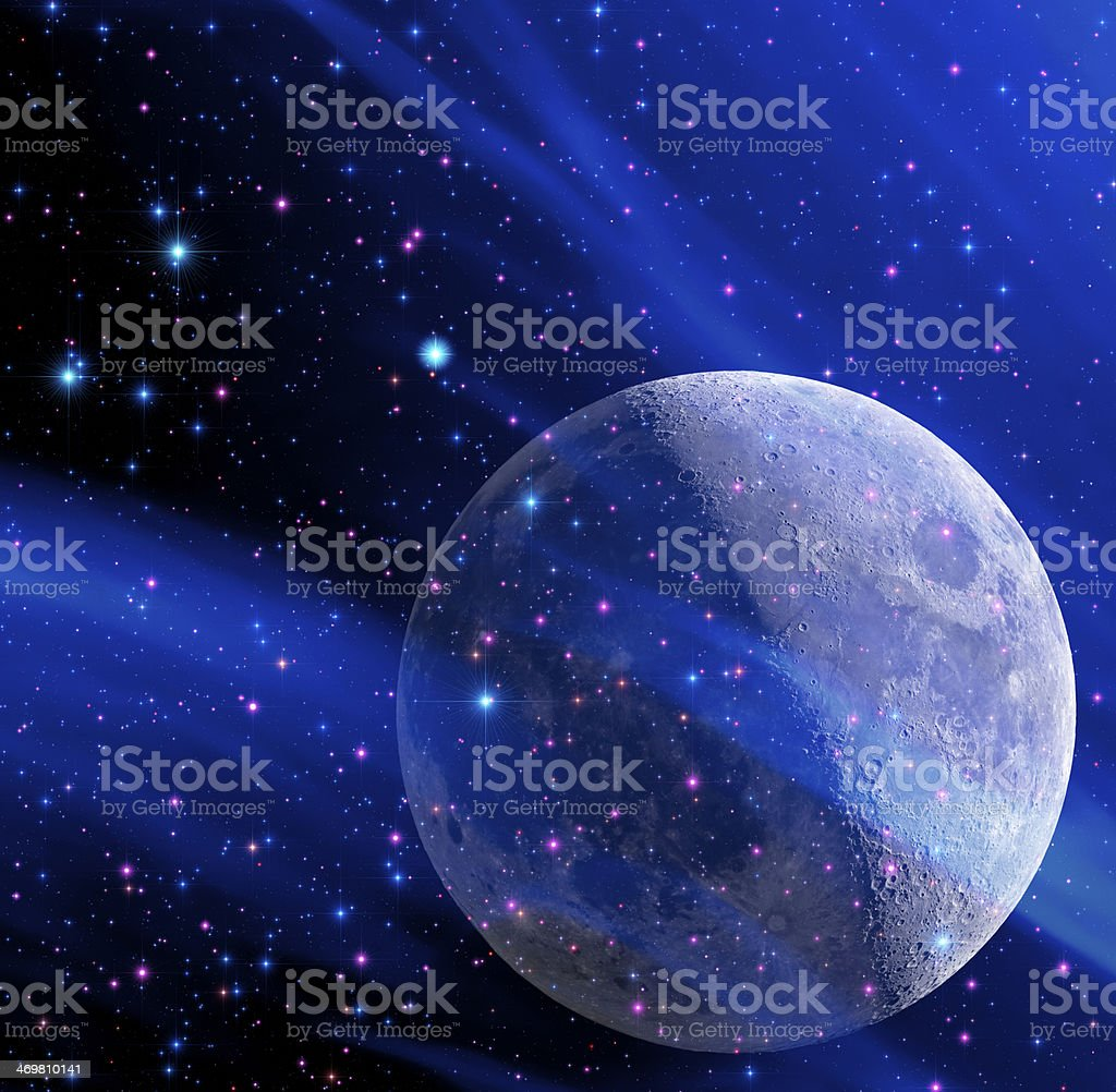 Moon in the Milky Way royalty-free stock photo