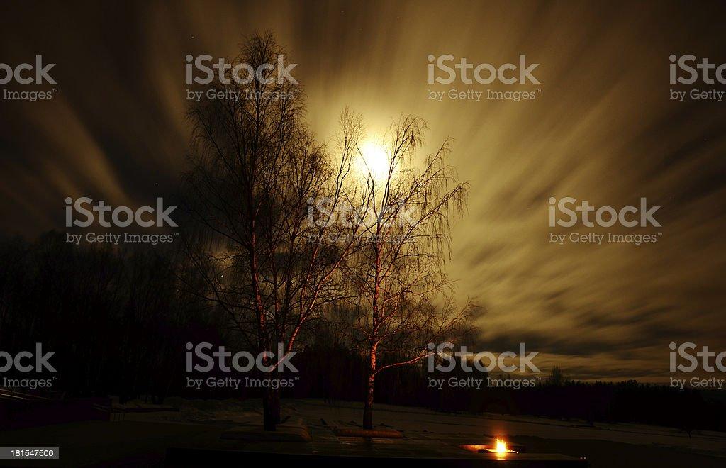 Moon in the night sky. stock photo