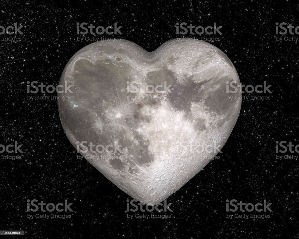 Moon in the shape of a heart stock photo