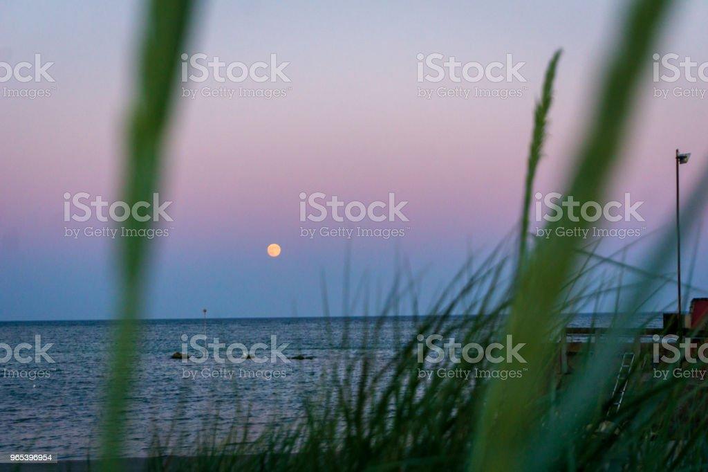 Lua é crescentes sobre Bornholm, Dinamarca idílica num dia de verão - Foto de stock de Azul royalty-free