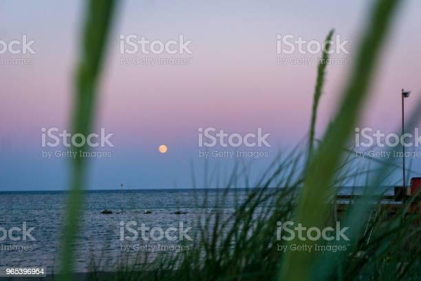 Foto de Lua É Crescentes Sobre Bornholm Dinamarca Idílica Num Dia De Verão e mais fotos de stock de Azul