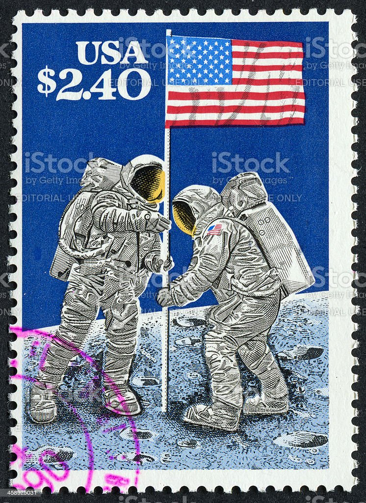 Moon Landing Stamp stock photo