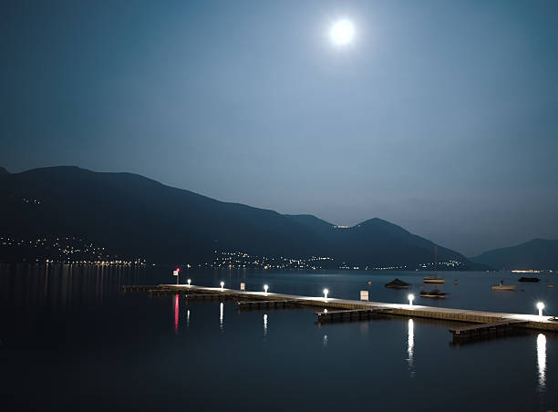 Moon light and a harbor stock photo