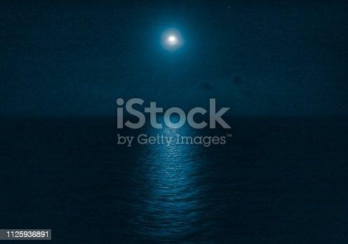 Full moon light on the cruise ship