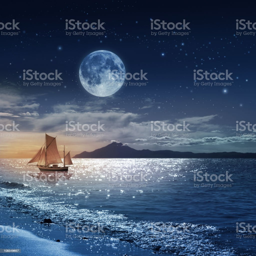 Moon night sea landscape with ship stock photo