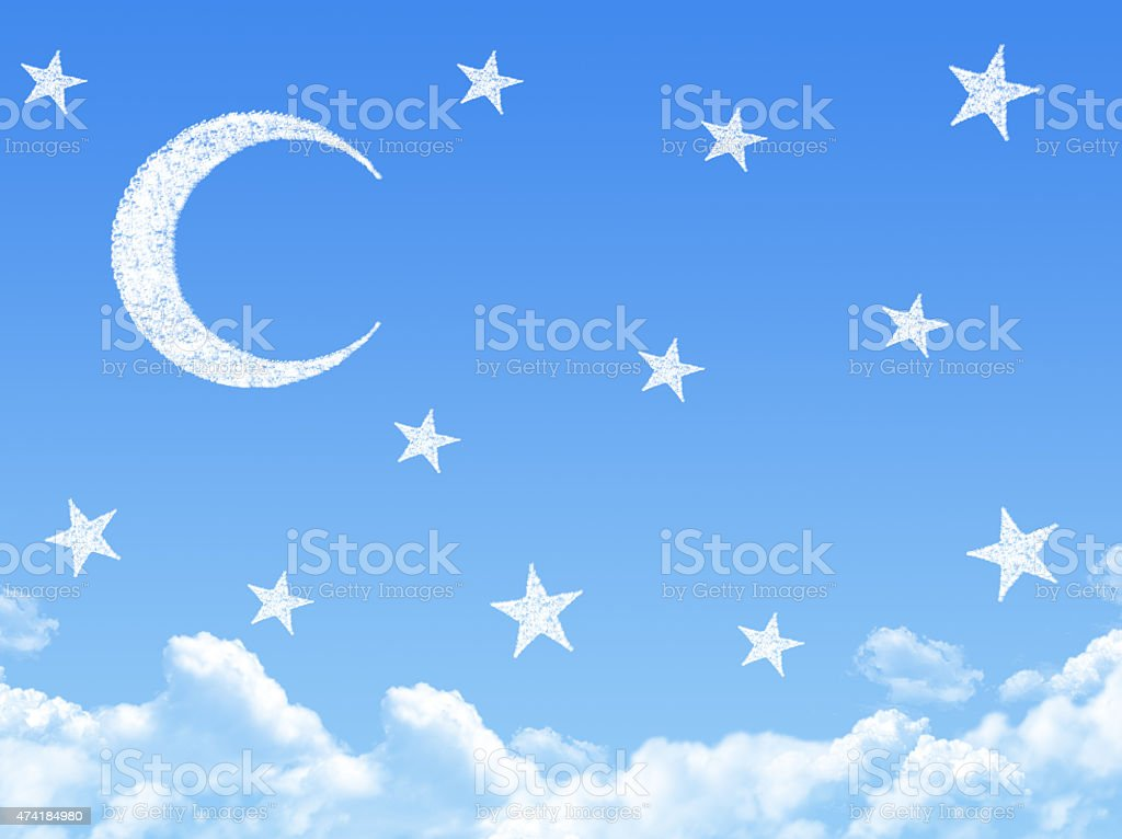 Moon on Cloud shaped ,dream concept stock photo