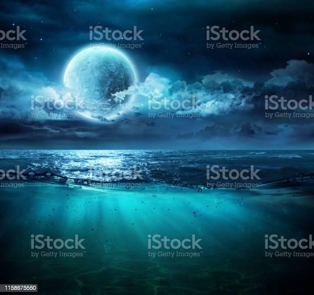 Photo of Moon On Sea In Magic Night With Underwater Scene