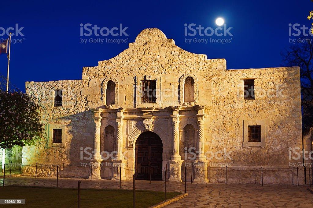Moon Over Alamo Building Facade, San Antonio, Texas stock photo